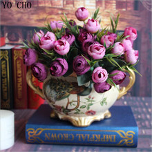 Artificial Rose Silk Flowers 10 Flower Heads Camellia Magnolia Floral Wedding Peony Bouquet Hydrangea Home Party Decor 1pcs(China)