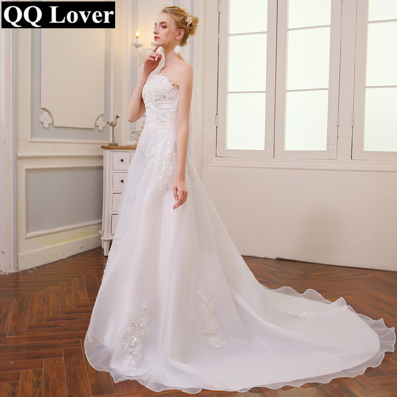 QQ Lover 2018 New Organza Train Wedding Dress Shining Appliques Vestido De Noiva Wedding Gown
