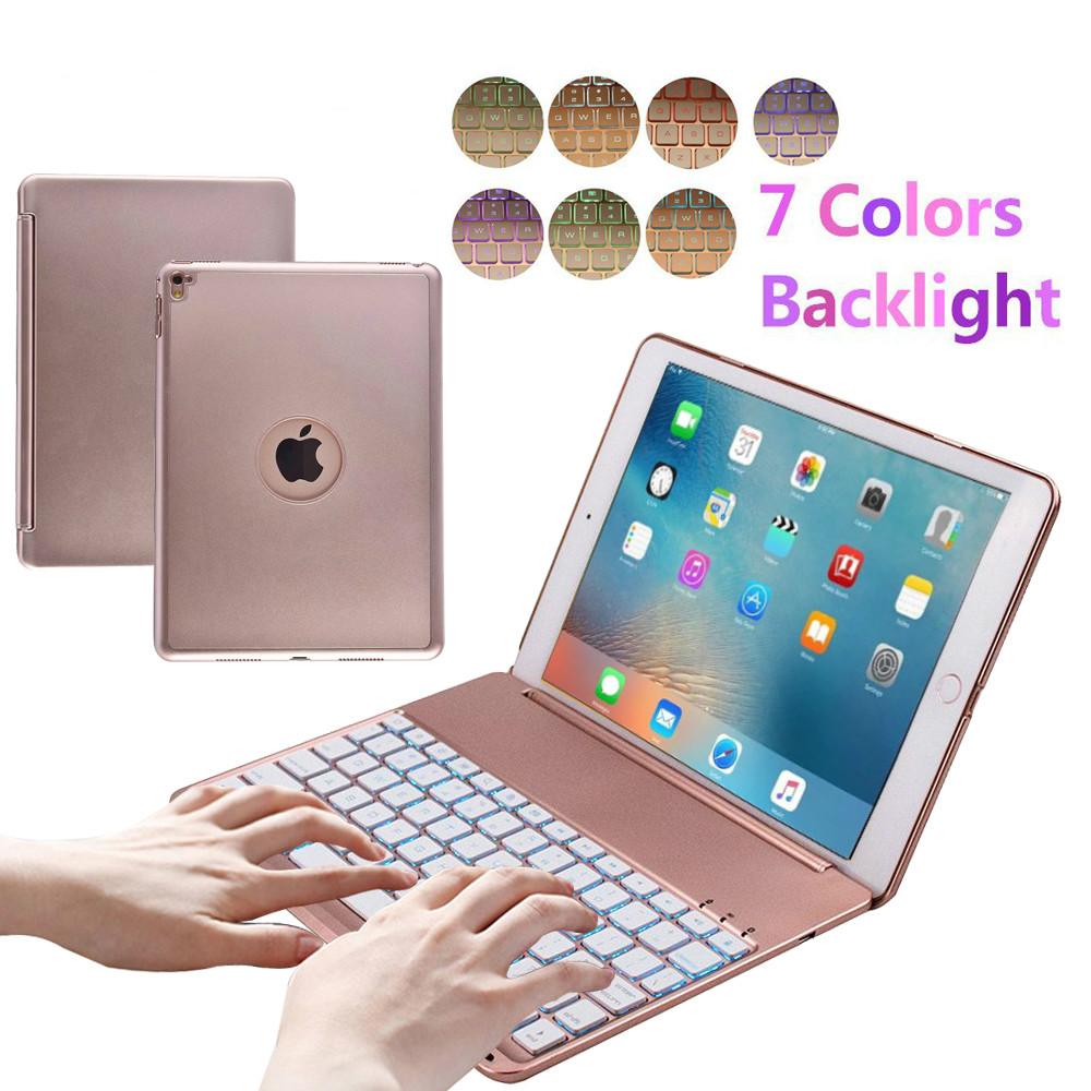 7 Color Backlit Laptop Style Smart Clamshell Ultra Slim Wireless Bluetooth Keyboard Case for Apple iPad Pro 9.7 Folio Cover<br>