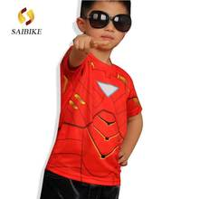 Marvel America Super Hero cycling jersey spiderman batman superman Iron man the flash man kids&children's cycling Tshirt(China)