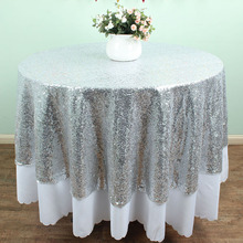 "72"" Round Silver Sequin TableCloths Table linens overlays Wedding party Table sparkly Glitz decoration"