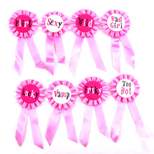 8pcs Party decoration pink badge sexy hen party fun brooch ribbon bachelorette button wedding event party 2017 sex products(China)