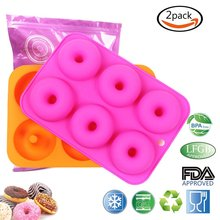 BAKHUK 2 Pcs 6 Cavity Silicone Donut Baking Pan/Non-Stick Donut Mold,bakeware sets,Fits for Dishwasher, Oven, Microwave, Freezer(China)
