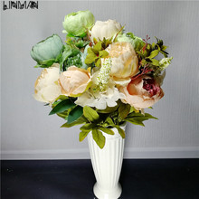 2pic Hot Realistic 6Branches Blue Autumn Artificial Fake Peony Flower Arrangement Wedding Hydrangea Home Decor Flores Artificial(China)