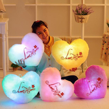 Sweet love heart shape flashing luminous pillow sweetylove lovers wedding pillow plush toy cushion creative gift