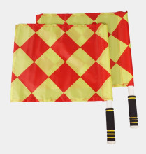 Soccer Football Referee Linesman Flags 2PCs with Bag Diamond Pattern Professional Referee Equipment for Match Game Water Proof