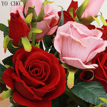 YO CHO 3 head wedding decoration artificial peony bouquet silk rose flower for home decoration table decoration mariage flowers