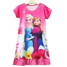 2018 Summer Dress Girl Pajamas Children Nightgowns Girls Sleepwear Kids Bathrobe Princess Anna&Elsa Costume Nightgown 7Y