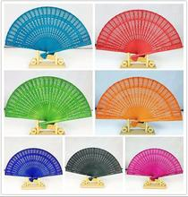 (50 pieces/lot) New Fancy wedding favors 8 inches 7 colors available Chinese sandalwood fans Promotional hand fans