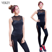 Hot 2 piece set Women Yoga Set Fitness Breathable Suit Female Black Sleeveless Long Pants Outdoor Sports Wear Large Size Ladies
