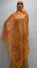 most popular hot selling orange chiffon scarf fabric, stone embroidered French Chiffon beach Scarf Lace Fabric ! 16l-4-1