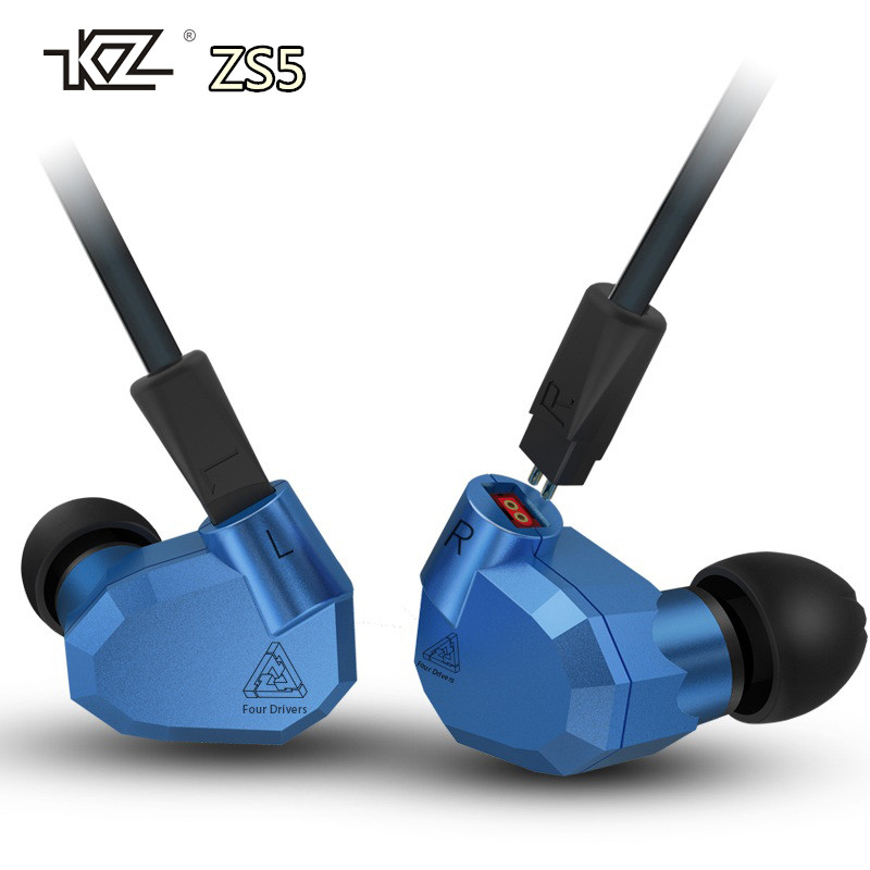 KZ ZS5 Professional HIFI Earphones 2DD+2BA Hybrid In Ear DJ Super Bass Headsets Stereo Surround Earbuds PK SE215 SE535 With Box<br>