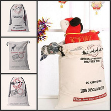 100Pcs/lot Christmas Large Canvas Monogrammable Santa Claus Drawstring Bag With Reindeers Monogramable Christmas Gifts Sack Bags