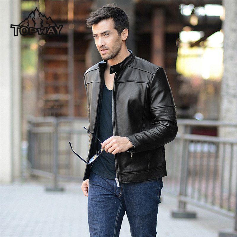 2017 Fashion Top Cow Skin Genuine Leathers Chaqueta Cuero Hombre Thermal England Winter Leather Jacket Men Windproof Outerwear