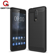 GerTong Carbon Fiber Textured Silicone TPU Shockproof Cover Case For Nokia 3 5 6 8 9 Brushed Anti-drop Full Protection Coque(China)