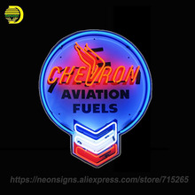 Neon Signs For Chevron Aviation Fuels Glass Tube Unique Artwork Neon Bulbs Handcraft Recreation Room Home Bar Neon board 24x20(China)