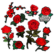 1 Pc Brand Flower Patches Big Stickers Embroidery 3D Red Rose Applique Motif Applique Garment Women DIY Clothes Wedding Patch
