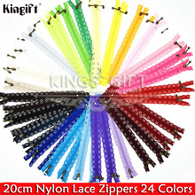 Pack of 50pcs 20cm Nylon Teeth Lace Nylon Zippers For DIY Sewing, #3 Zipper Garment Apparel Accessories Free Shipping(China)
