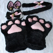 1 Set Cat Ears Plush Paw Claw Gloves Tail Ribbon Anime Cosplay Costumes 5 Colors Free Shipping(China)