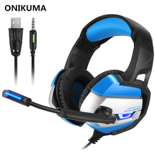 Best Gaming Headset Gamer casque Deep Bass Gaming Headphones for Computer PC PS4 Xbox one Laptop Notebook with Microphone LED(China)