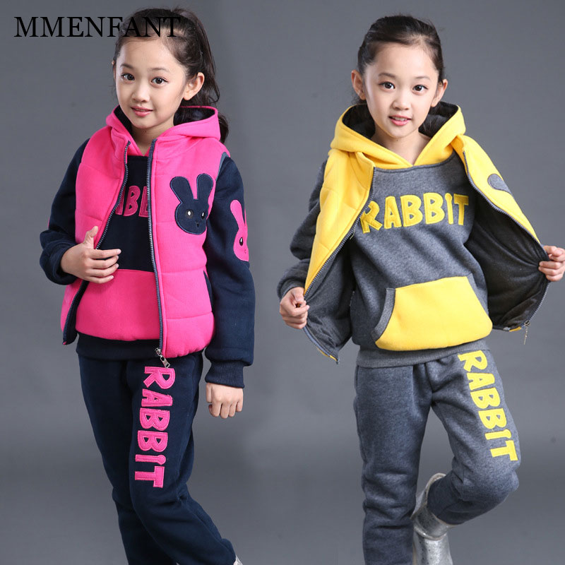 New Girls Sets winter Baby Girls Clothes Jacket rabbit Sports Hoodies+vest+Pants 3Pcs Sets Suit Children Girls Clothing Sets<br>