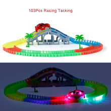 2017 New Hot Slot Glow Racing Track Bend Flex Assembly Toys 103Pcs Flashing Track Set Car Toys for Kids Electronic Rail Car(China)