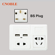 10A BS/EU White Double Socket Dual USB 5V 1000mA Charger For Mobile Phone Electrical Wall Plug Adapter Two USB Outlets