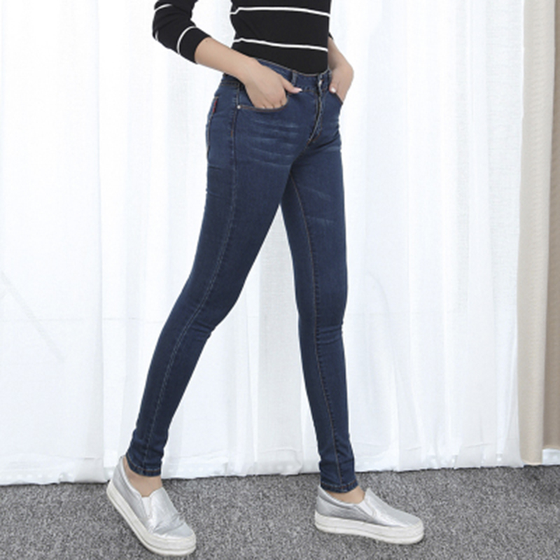 2017 New Women Jeans Large Size High Waist Autumn 2017 Blue Elastic Long Skinny Slim Jeans Trousers For Women black skinny jeansОдежда и ак�е��уары<br><br><br>Aliexpress