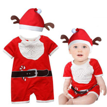 Toddler Red Christmas Costumes Baby Boys Christmas Hat+Short Sleeve Romper High Quality Girls Clothes Outfit Wear Halloween Sui