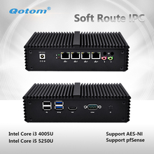 Qotom-Q330G4 /Q355G4 Mini PC Core i3 4005U i5 5250U AES-NI Pfsense as Router Firewall Fanless 4 Ethernet LAN Small Mini Computer(China)