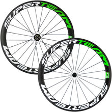 New arrival Superteam carbon wheelset 50mm carbon wheel clincher white and green decal road bike