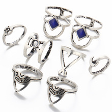 80 pieces/set Hollow Triangle Knuckle Ring Sets Antique Silver Color Moon Cross Stone Mid Midi Finger Rings For Women Jewelry(China)