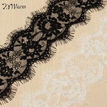 New 3 Meters Eyelashes Lace Trim Flower Black White Lace Fabric Handmade DIY Craft Garment Clothes Dress Accessories 9.5cm wide