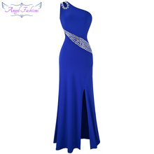 Angel-fashions One Shoulder Beading Split Hollow Out Long Evening Dress Blue 075(China)
