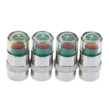 4Pcs Car Tire Safe Air Pressure Alarm Monitor Valve Stem Caps Cover Alert Valve Sensor Caps Tyre Air gauge Warning Device