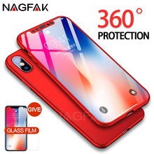 NAGFAK Full Cover 360 Degrees Case For iPhone 10 X Ultra Thin Protective Shell Tempered Glass Cases For iPhone X 10 Phone Case(China)