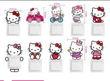 10pes in one pack Cartoon Pink Hello Kitty Cat Switch Stickers Bedroom Wall Stickers For Kids Rooms Wall Art Home Decor Stickers(China)