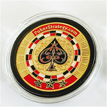 "New Design ""Poker Strategy.com"" Poker Token Coin Casino Guard Coins 24k Gold Plated As Commemorative Business Gifts,10pcs/lot(China)"