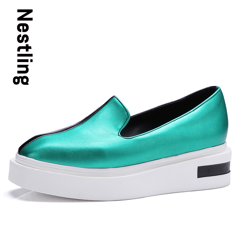 Nestling New 2017 Spring Autumn Women Wedges Shoes Fashion Punk Mixed Colors Women Pumps Casual Platform Shoes Woman Size 35-43<br>