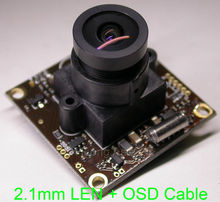 "2.1mm Wide angle LEN small size 32x32mm Effio-E 1/3"" Sony CCD ICX672/673 CCD +CXD4140 CCTV camera module board +OSD cable(China)"