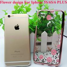 2016 hot selling Phone cases Luxury plating flower soft TPU Case Cover For iPhone 5 5S 6 6s 6 plus cell phone case accessories