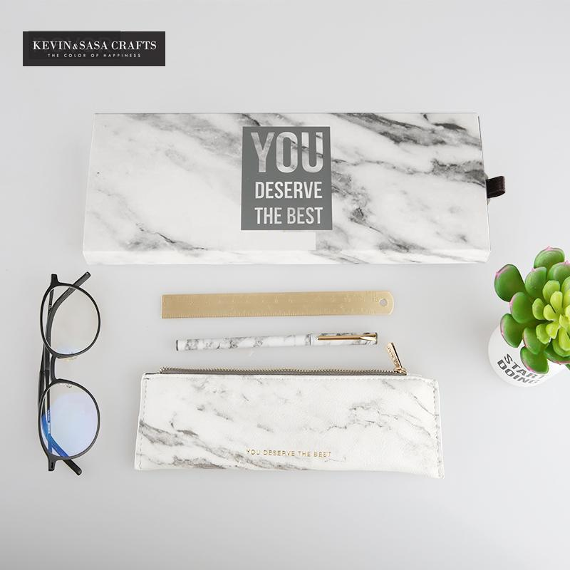 3In1 Marble Stationery Gift Set School Stationery Set Office Tools Luxury Marble Pencilcase Stationery Gift Set Bts Kids Gift<br>