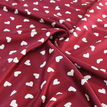 100*148cm Love Hearts Print Material For Dress Sleepwear Super Soft Imitate Silk Fabric Burgundy(China)
