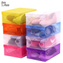 AsyPets Transparent Storage Shoe Box Foldable Clear Plastic Tidy Organizer Case for Home-45(China)
