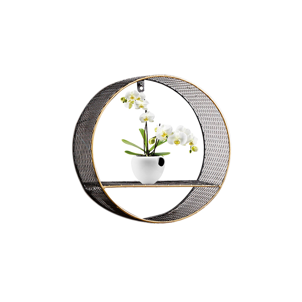3 Sizes Retro Wall-Mounted Metal Rack Circular Mesh Iron Shelf Industrial Style Round Shelf Office Sundries Organizer Home Decor 4