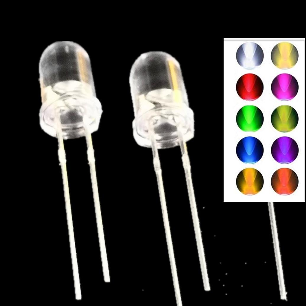 1000pcs 5mm LED Diode DIY Light Emitting Diode 20mA White Green Red Blue UV IR