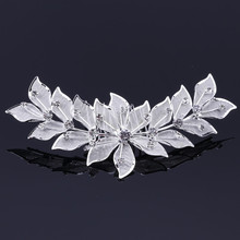 topstore 3PCS Silver Plated Crystal Flowers Leaves Bridal Tiara Headpiece Hair Comb Pin