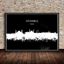 World City ISTANBUL Turkey Watercolor Painting Abstract Wall Art PRINT Poster Modern Wall Sticker Living Room Home Decor Cafe