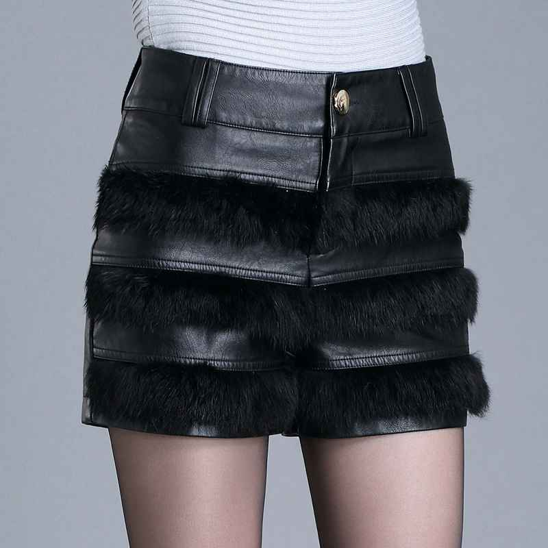 #2767 Patchwork Faux Fur Faux Leather skits womens Fashion Mini skirt Slim Plus size 4XL short skirt Fall winter 2017
