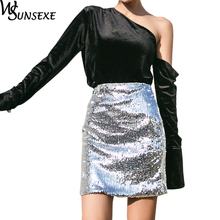 Buy Metal Silver Sequined Pencil Skirt Women Spring Chic Bodycon Mini Skirts Female New Fashion Streetwear 2018 Sexy Sequined Skirts for $23.71 in AliExpress store